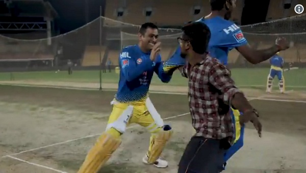 once again dhoni played some race with his fan