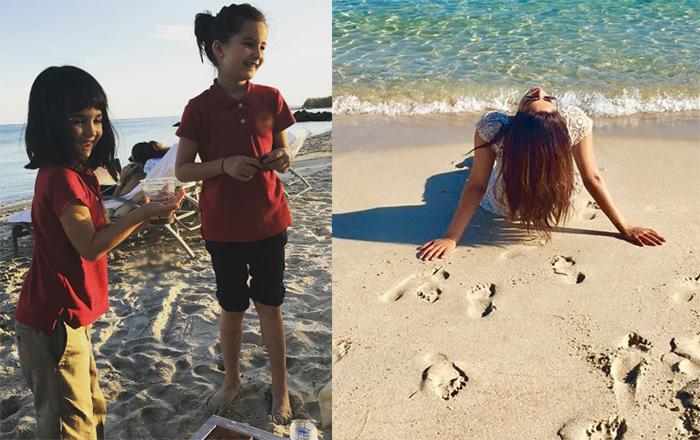 priyanka chopra enjoying on the beach