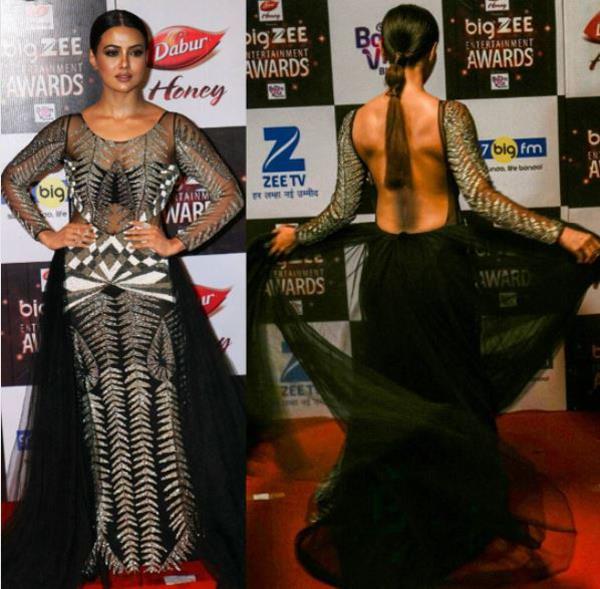 sana khan in hot black dress