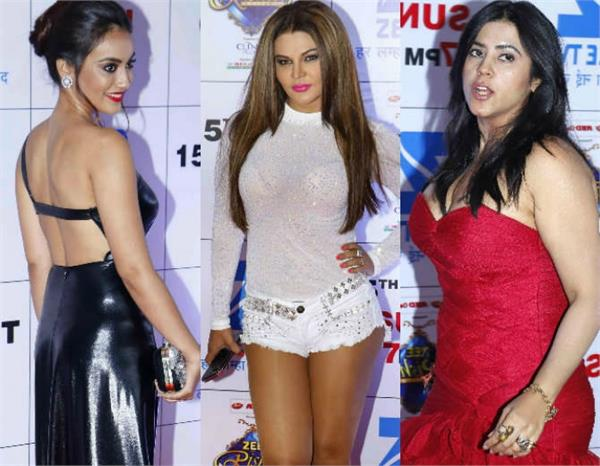 rakhi sawant in transparent dress and other celebs at zee rishtey awards