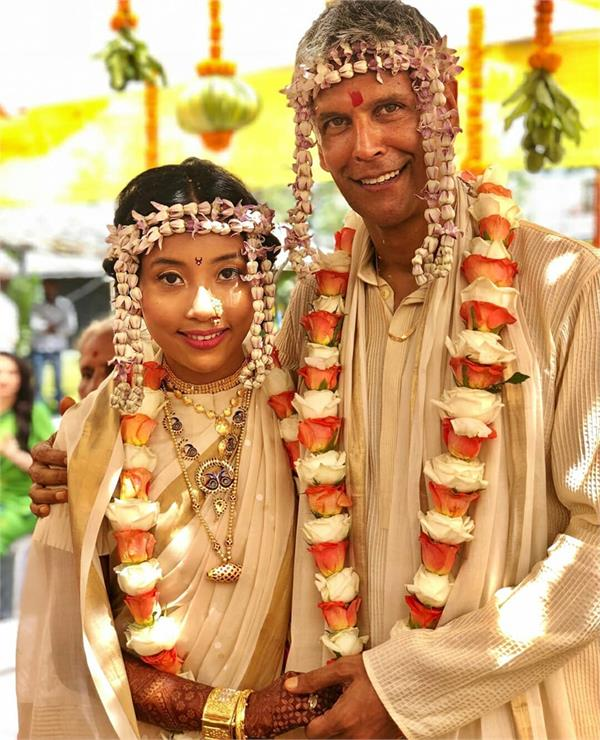 milind soman and ankita konwar marriage pics