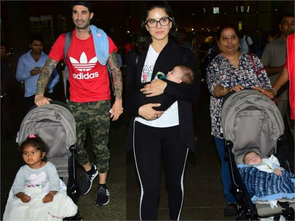 sunny leone candid family pictures of the actress