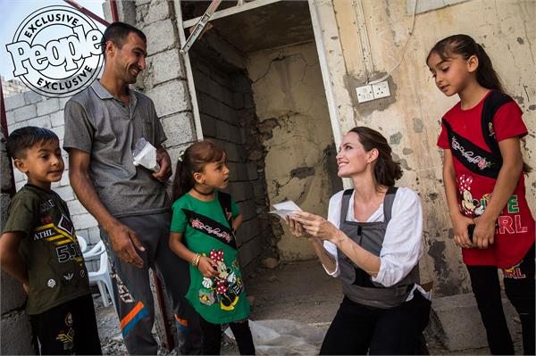 angelina jolie meets refugees in iraq  s mosul