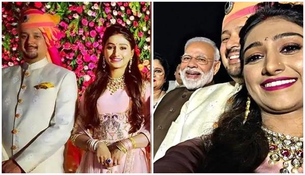 narendra modi attended mohena kumari singh s wedding reception in delhi