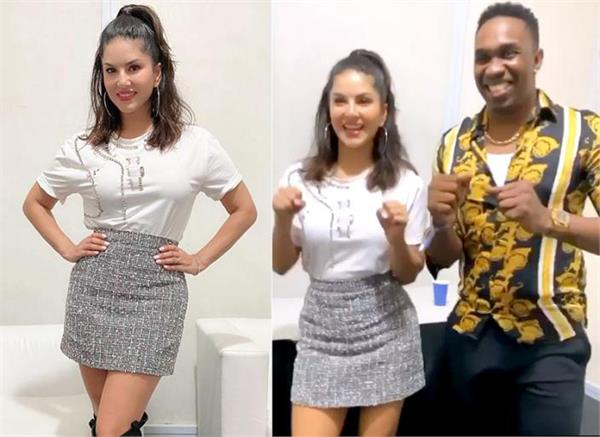 sunny leone dance with dwayne bravo on champion song video viral