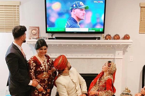 it is called cricket fan  the match even on wedding night