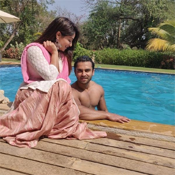 dipika kakar fun with her husband at the pool