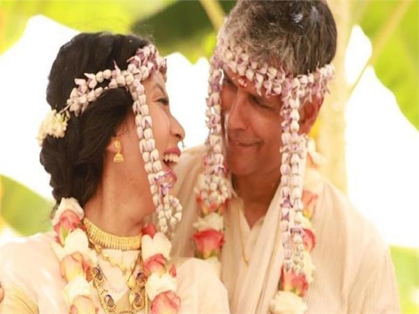 milind soman and ankita konwar celebrate first anniversary
