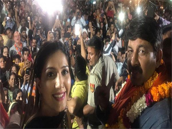 sapna choudhary video bjp rally with manoj tiwari