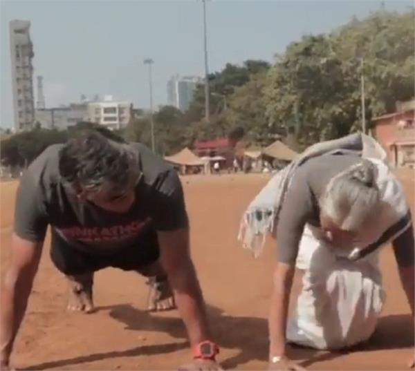 milind soman s 80 year old mother does 16 push ups effortlessly
