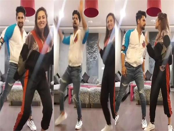 sargun mehta bhangra moves with hubby hubby ravi dubey