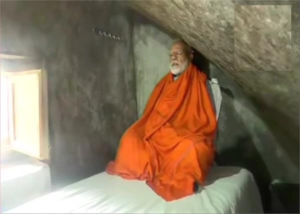 narendra modi meditates at a holy cave near kedarnath