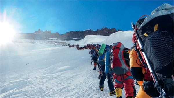 mount everest did not happen due to  crowding  climbers  nepal