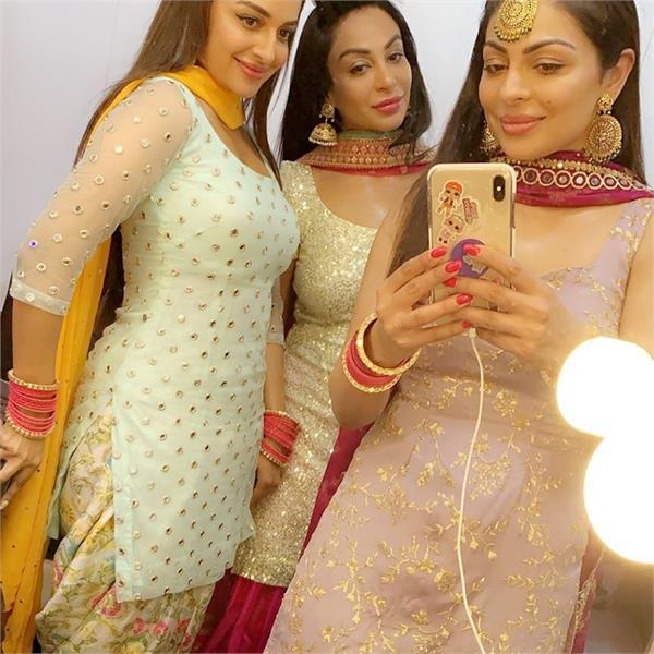 neeru bajwa with sister rubina bajwa   sabrina bajwa