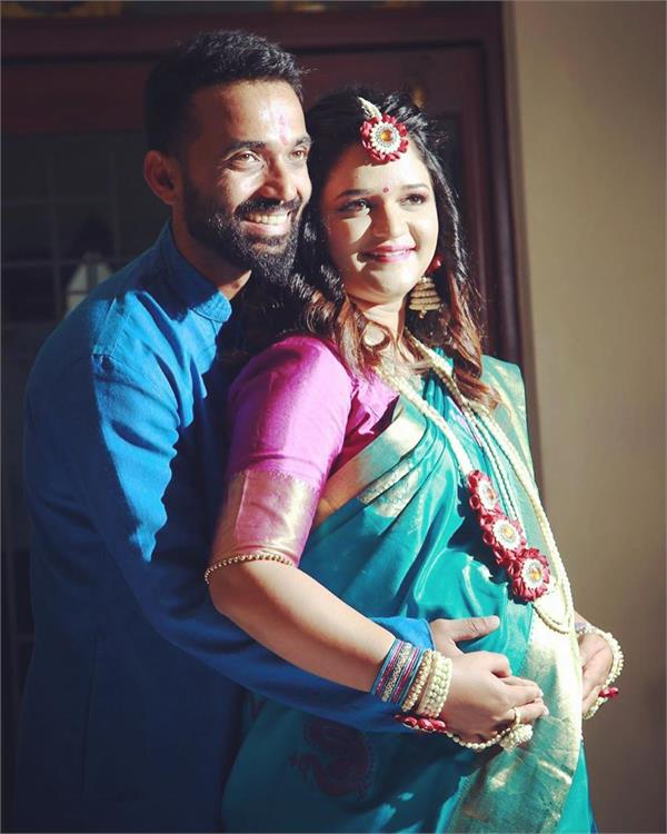 rahane is about to become a father  shared picture