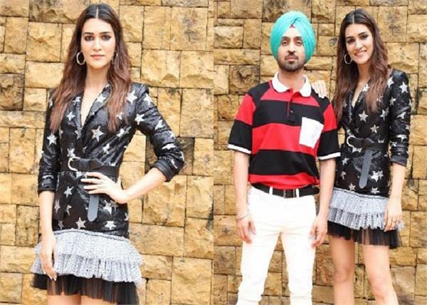 diljit dosanjh and kriti sanon dazzle as they promote arjun patiala