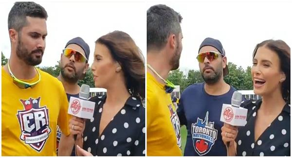 in interview with cutting  suddenly yuvraj asks funny question