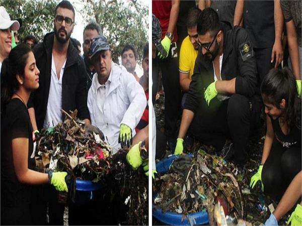 arjun kapoor in bhamla foundation beach cleaning drive at bandra