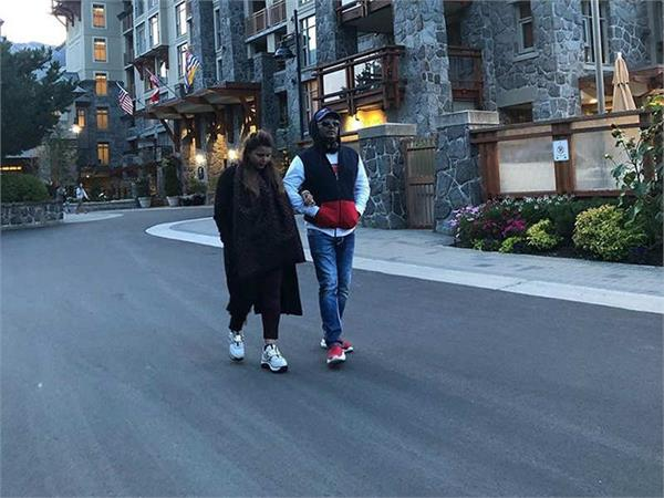 kapil sharma  wife ginni chatrath walk hand in hand on the streets of canada