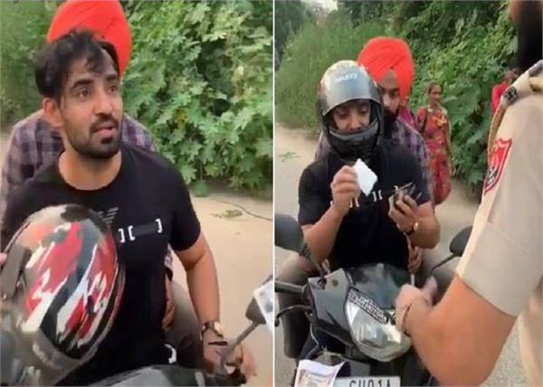 resham singh anmol video on traffic rules punjab police viral