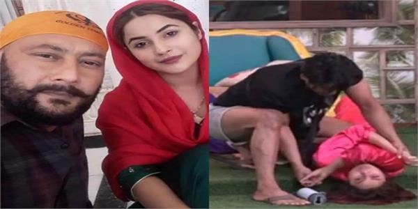 bigg boss 13 shehnaz gill s father on the arm twisting video