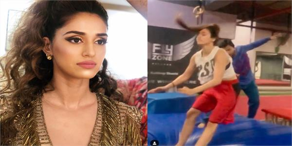 disha patani performs a front flip with a broken knee