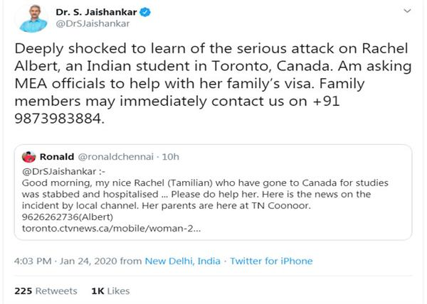 foreign minister concerned over deadly attack on indian student in toronto