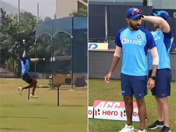 fitted bumrah practiced in the net