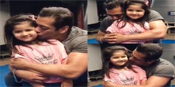 a cute little fan meets salman khan on the set of radhe