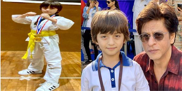 shah rukh khan s son abram wins gold medal for taekwondo