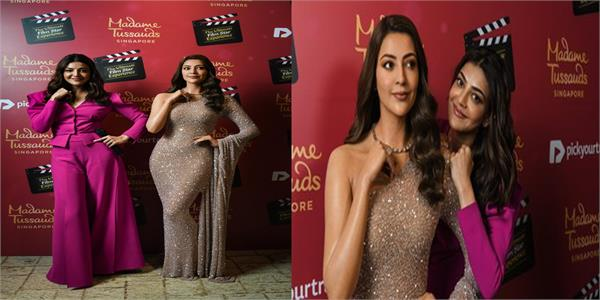 kajal aggarwal unveils her wax statue at madame tussauds singapore