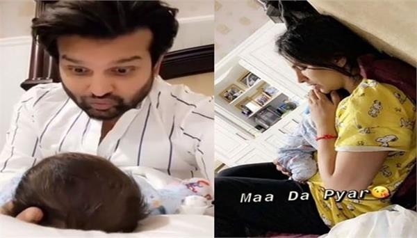 new pictures of hredaan with mom mansi sharma   papa yuvraaj hans