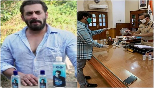 salman khan donates hand sanitizers to the mumbai police