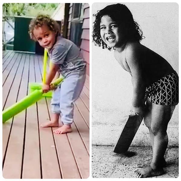 sachin shares his childhood photo after watching brian laras son batting